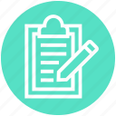 clipboard, document, document list, file, page, pencil, text