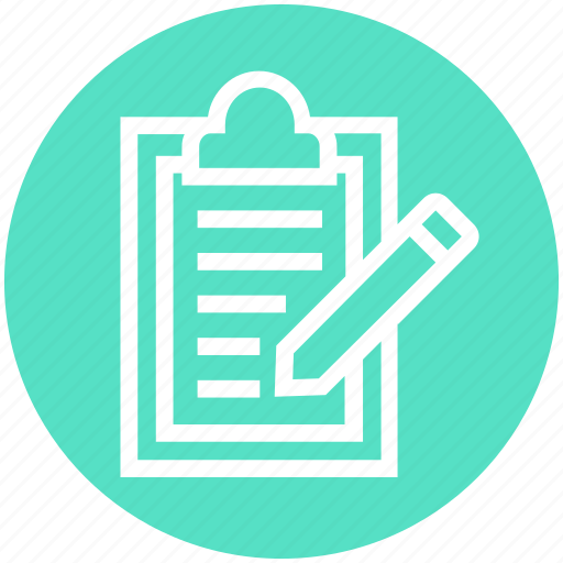 Clipboard, document, document list, file, page, pencil, text icon - Download on Iconfinder
