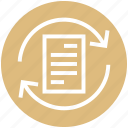 arrows, document, document list, file, page, sync file icon