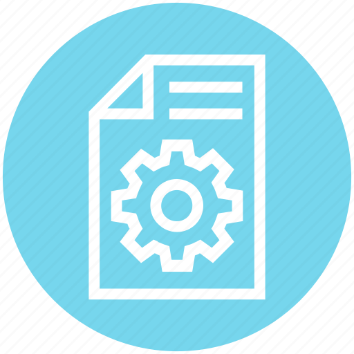 cogwheel, document, file, gear, page, paper, setting icon