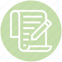 document, document list, file, list, page, pencil, write icon