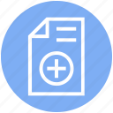 document, document list, file, page, paper, plus, text icon