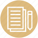 document, document list, file, page, paper, pencil, write icon