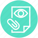 clip, document, eye, file, page, paper, view icon