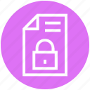 document, file, lock, page, paper, private, secure file icon