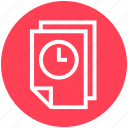 clock, document time, documents, files, pages, paper, time