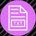 document, document list, extension, file, format, page, txt