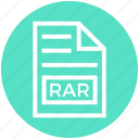 document, document list, extension, file, format, page, rar icon