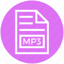 document, document list, extension, file, format, mp3, page icon