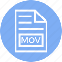 document, document list, extension, file, format, mov, page icon