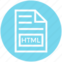 document, document list, extension, file, format, html, page icon