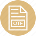 document, document list, extension, file, format, otf, page icon
