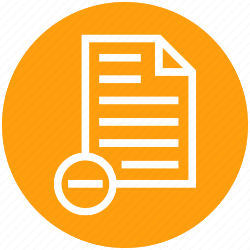 Document, document list, file, minus, page, paper, text icon - Download on Iconfinder