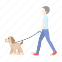 care, dog, leash, man, pet, walk