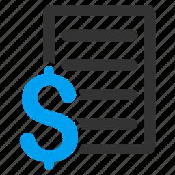 check, cheque, contract, document, invoice, price list, report icon
