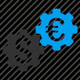 business, finance, financial mechanics, gears, industry, settings, tools icon