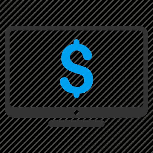 business, computer, display, finance, financial monitoring, monitor, pc desktop icon