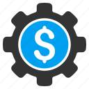 business, control center, factory, finance, financial options, gear, support icon