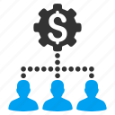bank clients, dollar, industrial, links, money, network, user group icon