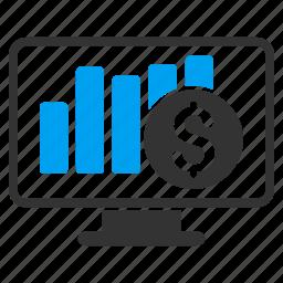 bar chart, desktop, graph, monitor, monitoring, screen, stock market icon