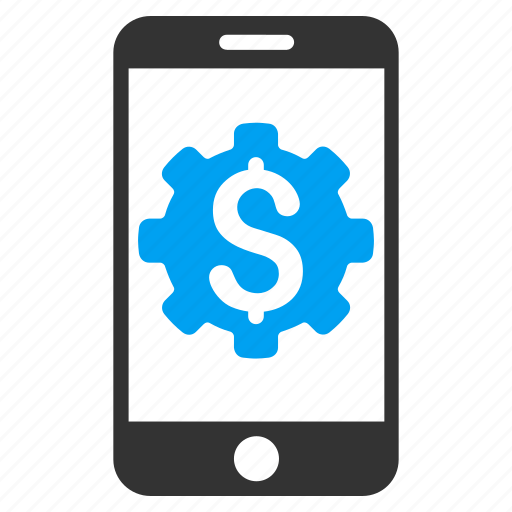 bank control, mobile device, money, phone, settings, setup, tools icon