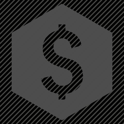 business, dollar, finance, financial, hexagon, money, price icon