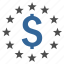 business, cash, currency, dollar stars, finance, prosperity, success icon