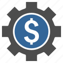 business, dollar, finance, financial options, gear, settings, tools icon