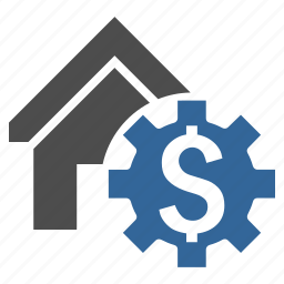 building, configuration, gear, home, house, rent options, settings icon
