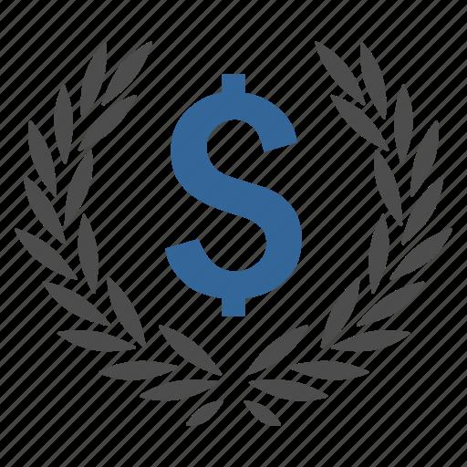 achievement, bank, financial award, laurel wreath, medal, prize icon
