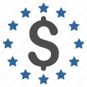 business, currency, dollar stars, finance, money, prosperity, success icon