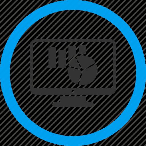 charts, display, graph, monitor, monitoring, reports, screen icon