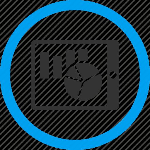 analytics, charts, graph, mobile report, pad, pda, statistics icon