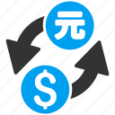 banking, currency exchange, dollar, forex trade, money change, yen, yuan icon
