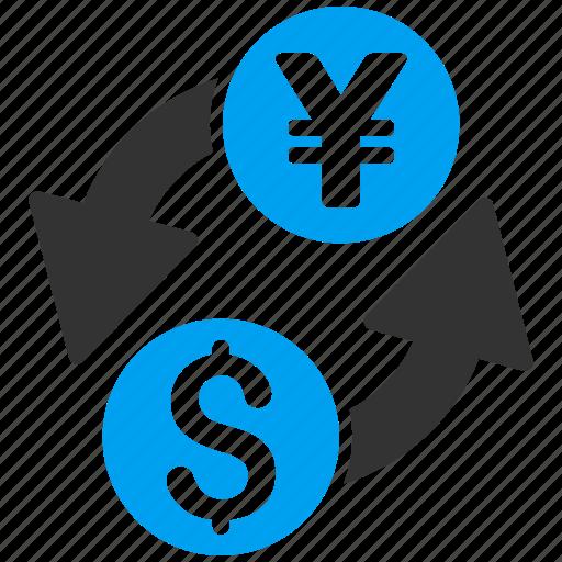 banking, currency exchange, dollar, forex trade, money change, yen, yuan icon