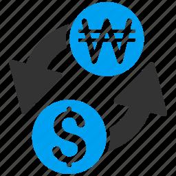 banking, currency exchange, dollar, forex trade, korean won, money change, usd icon