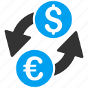 bank business, currency exchange, dollar, euro, finance, forex market, money change icon