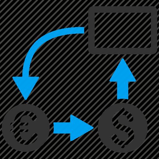 cash flow, cashflow, euro, exchange, finance, financial chart, money icon