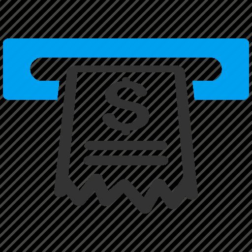 cash machine, cashier, invoice, payment, receipt, register, shopping icon