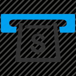 cash machine, cashier, cashout slot, invoice, payment, receipt, shopping icon