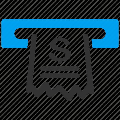 cash machine, cashier, invoice, paper receipt, payment, register, shopping icon