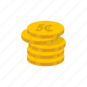 cents, five, five cents, money coin icon