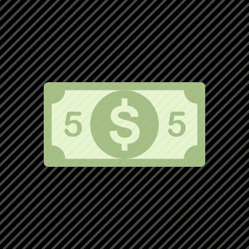 cuurency, five, five dollars, money icon