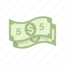 bill, dollars, five dollar bill, five dollars icon