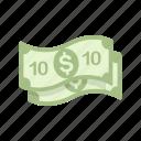 bill, money, ten, ten dollars