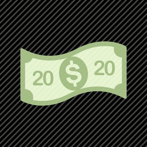 bill, money, twenty, twenty dollar icon