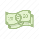 cash, money, twenty, twenty dollars icon