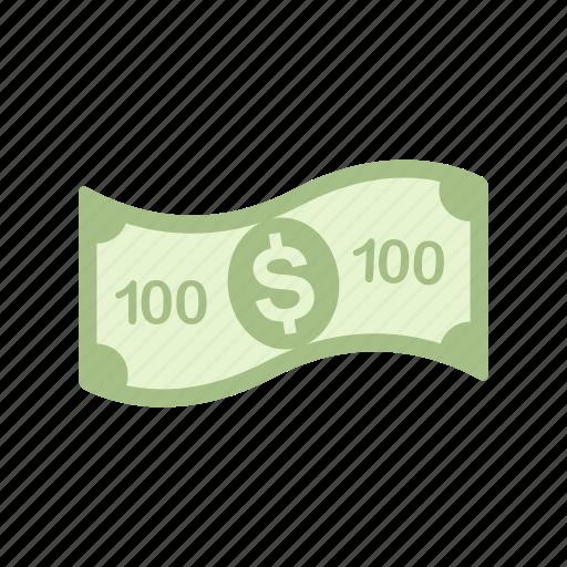bill, money, one hundred, one hundred dollar icon
