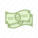 bill, money, one hundred, one hundred dollar icon