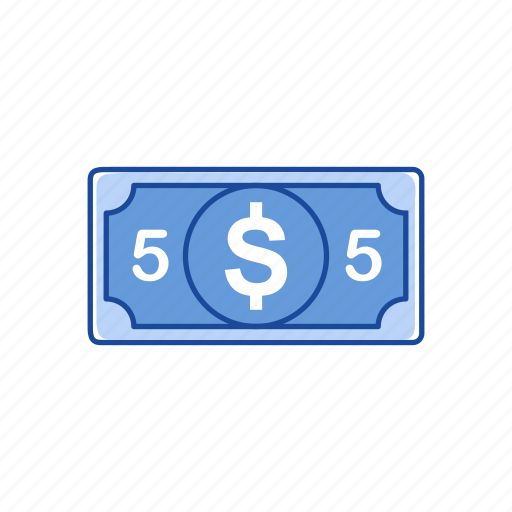 bill, cash, five dollars, money icon